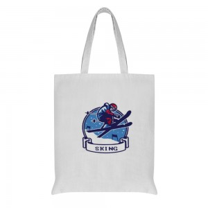 """""""ski"""" Double-sided printing Cotton and linen Tote Bag 15""""X16"""""""
