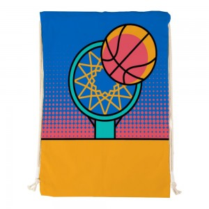 """""""Basketball and box"""" Canvas double shoulder bag"""