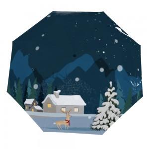 """Snowy House"" Customize Three fold Manual Umbrella White Color"