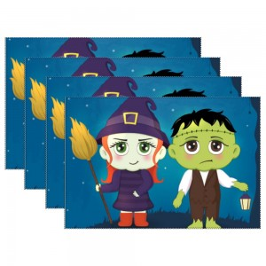 """""""Halloween Couple"""" Heat-resistant Placemats 11.8"""" x 17.7"""", 4 sheets of per set"""