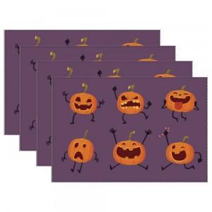 """Halloween Emotional Pumpkins"" Heat-resistant Placemats 11.8"" x 17.7"", 4 sheets of per set"