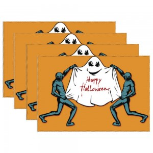 """""""Halloween Ghost show"""" Heat-resistant Placemats 11.8"""" x 17.7"""", 4 sheets of per set"""