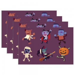 """""""Halloween Dance with Monster"""" Heat-resistant Placemats 11.8"""" x 17.7"""", 4 sheets of per set"""