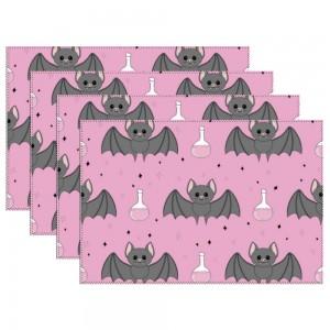 """Halloween Baby Bats"" Heat-resistant Placemats 11.8"" x 17.7"", 4 sheets of per set"