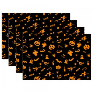 """Halloween Black"" Heat-resistant Placemats 11.8"" x 17.7"", 4 sheets of per set"