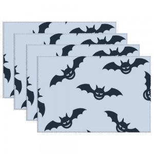 """Halloween Bats"" Heat-resistant Placemats 11.8"" x 17.7"", 4 sheets of per set"