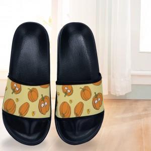 """Halloween Fallin Pumpkin"" Adult Slides Black Color"