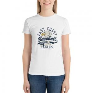 """Baseball""  Single-sided Area Printing White T-shirt for Women"