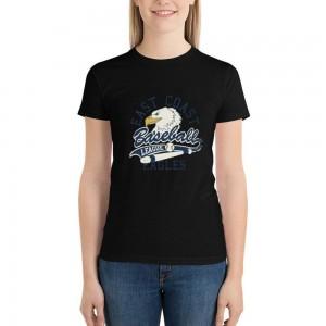 """Baseball""  Single-sided Area Printing Black T-shirt for Women"