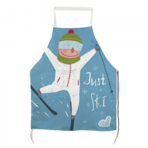 """""""Cute"""" """"skiing"""" Adult apron with two pockets 27.5"""" x 31.5"""""""