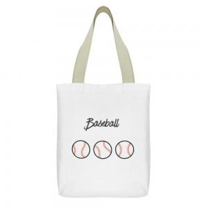 """Baseball"" Tote Bag,  small pocket with zipper 13""X15"""