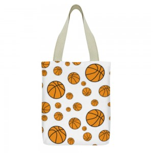 """""""Basketball"""" Tote Bag,  small pocket with zipper 13""""X15"""""""