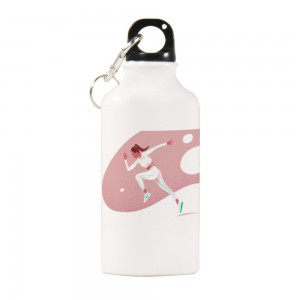 """Cute""""Run"" Sports Water Bottle White Color 13.5oz"