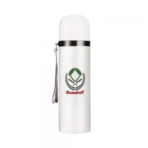 """""""Basketball"""" Customize Vacuum Bottle 12oz, White"""