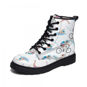 """Bicyclel"" White  Adult Full-print Boots"
