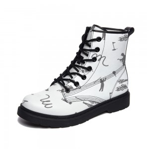 black and white Adult Full-print Boots