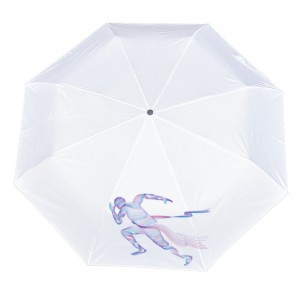 Run Customize Three fold Automatic umbrella white color