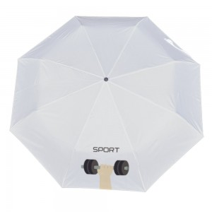Weightlifting Customize Three fold Automatic umbrella white color