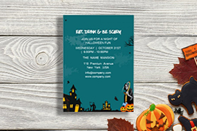 """""""eat""""""""drink""""""""Halloween""""  Invitation  , Single Sided, 50 sheets per pack"""