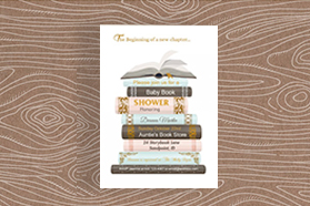 """""""Book"""" Baby Shower&Party&Birthday Vertical Single Sided Invitation ,50 sheets per pack"""
