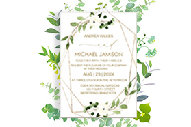 """""""Floral"""" Wedding Invitation  Vertical, Single Sided, 50 sheets per pack"""
