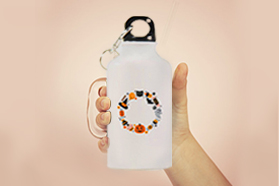"""""""Halloween Candies Cupcakes"""" Sports Water Bottle White Color 13.5oz"""