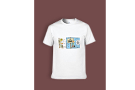 """""""Cartoon"""" Single-sided Area Printing White T-shirt for Women"""