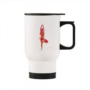 """gymnastics""""Sports"" Silver/White Car Travel Mug 14.8oz"
