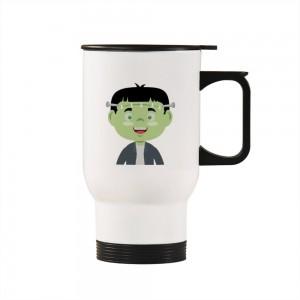 """Halloween Doctor Zombie"" Silver/White Car Travel Mug 14.8oz"