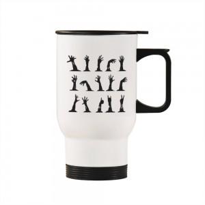 """Halloween Hands"" Silver/White Car Travel Mug 14.8oz"