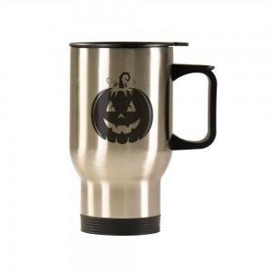 """Halloween Smile Pumpkin"" Silver/White Car Travel Mug 14.8oz"