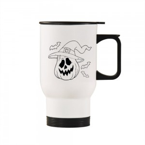 """Halloween Pumpkin Hat"" Silver/White Car Travel Mug 14.8oz"