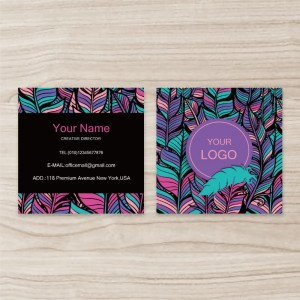 """""""Colours""""""""Leaf"""" Square Double Sided,  Business Card, Green Purple , Quantity 100 sheets per pack"""