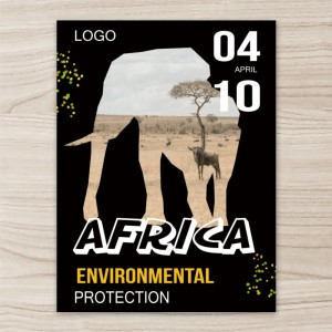 """""""Environmental Protection"""" """"Elephant"""", Vertical Poster , Black Background"""