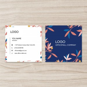 """Autumn""""Leaf"" Square Double Sided Business Card, Dark Blue and White , Quantity 100 sheets per pack"