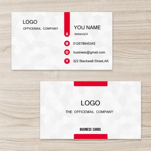 """Dark Fringe"" Horizontal Tent Fold Folded Business Card  ,White Cream, Quantity 100 sheets per pack"