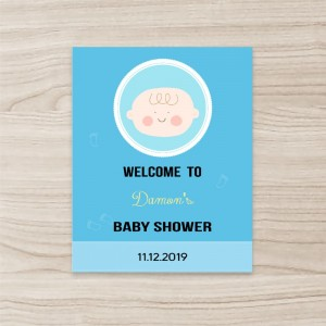 """Baby"" Vertical Foam Boards , Blue Background"