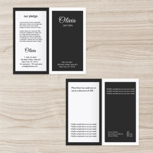 Spa Business Custom Brochure two-fold, Black and White