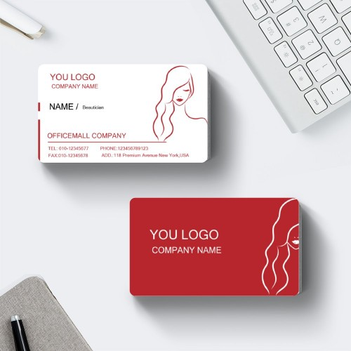 """Beauty""""Lady"" Horizontal Rounded Corner Rectangle, Business Card  ,White and Red, Quantity 100 sheets per pack"