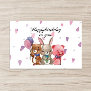 """animals"" ""Birthday Greeting""Flat Card / Postcard/Invitation , Horizontal, Single Sided, 50 sheets per pack"