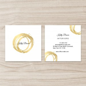 """""""Bronzing Round""""Square Double Sided,  Business Card, White Golden, Quantity 100 sheets per pack"""