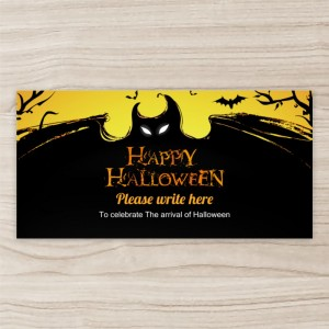 """Bat Halloween"" Horizontal Vinyl Banner, Black Background"