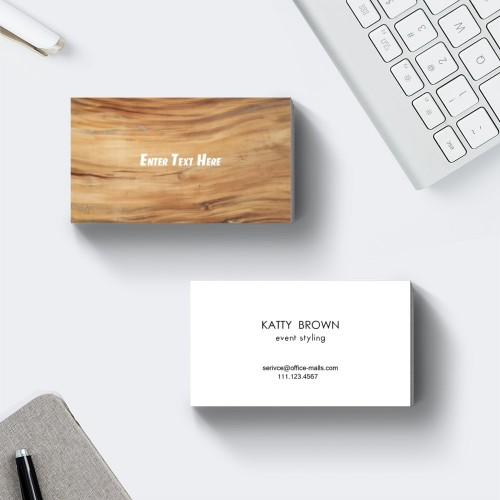 """Faux Wood"" Horizontal Rectangle Business Card  Brown White, Quantity 100 sheets per pack"