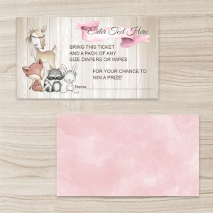 """Animals"" Horizontal Rectangle  Business Card  , Pink Brown, Quantity 100 sheets per pack"