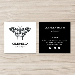 """""""Butterfly"""" Square Double Sided,  Business Card, Black and White, Quantity 100 sheets per pack"""