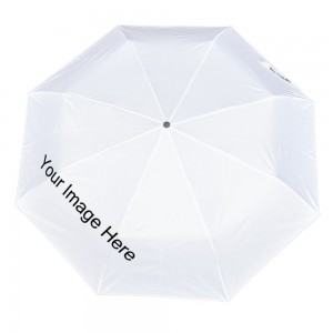 Customize Three fold Automatic umbrella white color