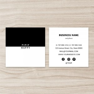 """""""Color Stitching""""""""Modern Minimalist"""" Square Double Sided,  Business Card, Black and White, Quantity 100 sheets per pack"""