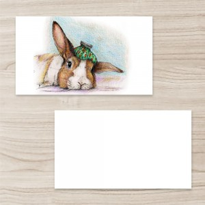 """Animal"" Horizontal Tent Fold Folded Business Card ,White Brown, Quantity 100 sheets per pack"