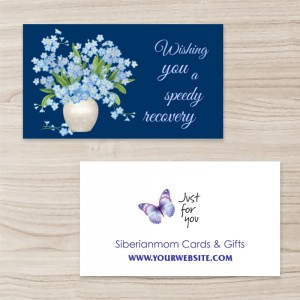 """Beautiful Floral "" Horizontal Tent Fold Folded Business Card ,Blue, Quantity 100 sheets per pack"