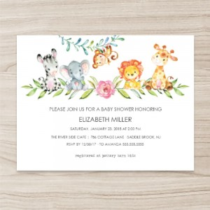 """animals"" ""floral"" Baby Shower Invitation , Horizontal Single Sided, 50 sheets per pack"
